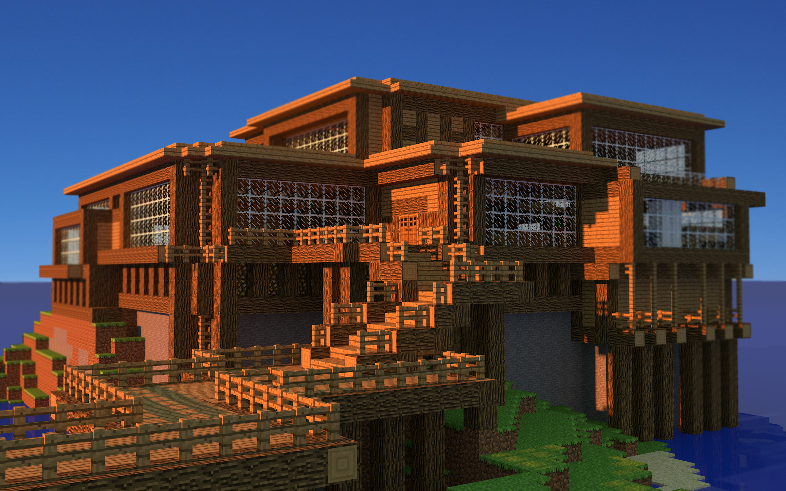 minecraft-beach-house-wallpaper