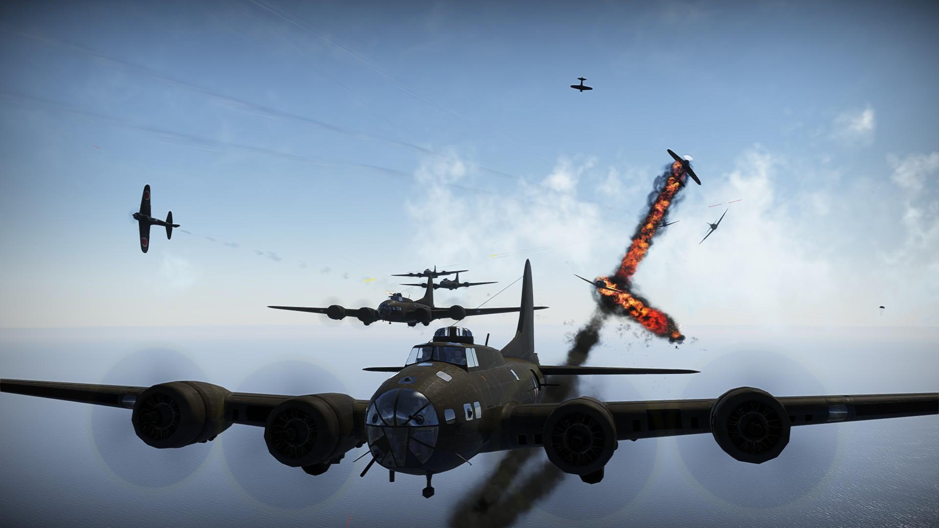 B-17 Formation setzt anfliegende Jäger in Brand