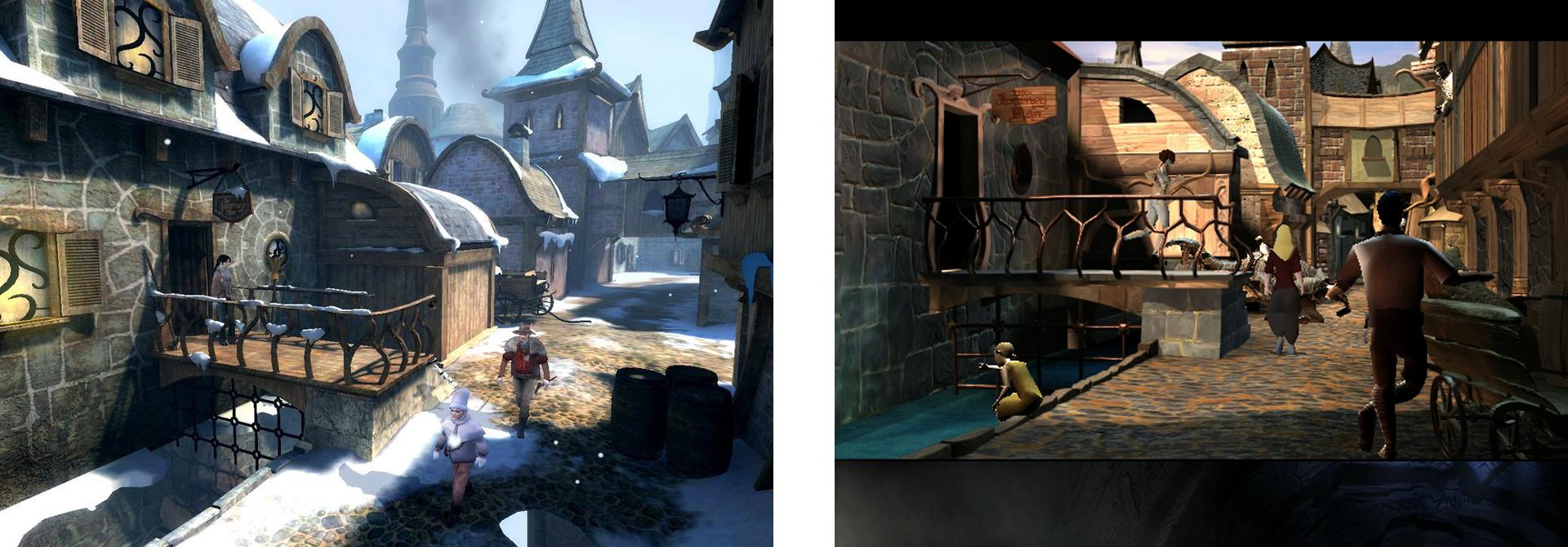 Ein Vergleich. Links Dreamfall, rechts The Longest Journey