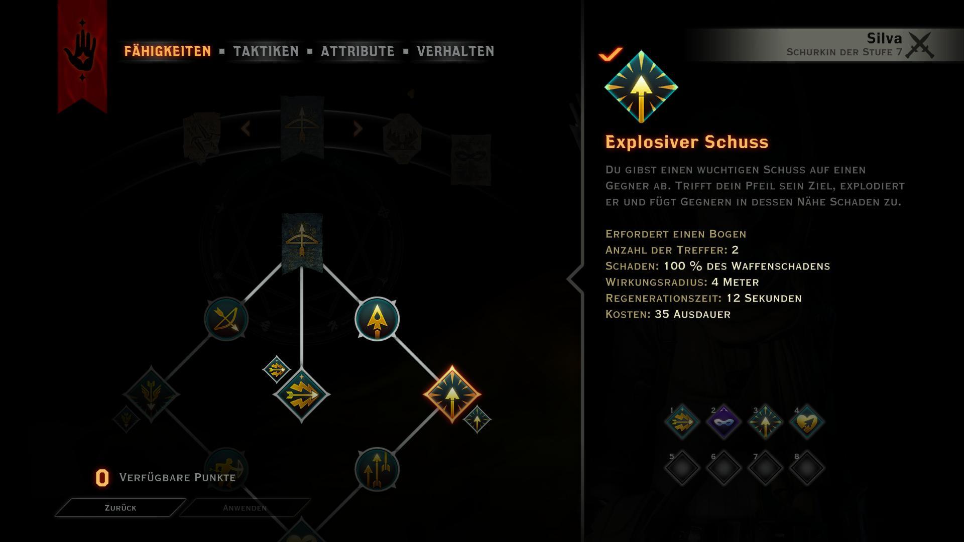 Skillbaum des Schurken - Bogenspezifikationen