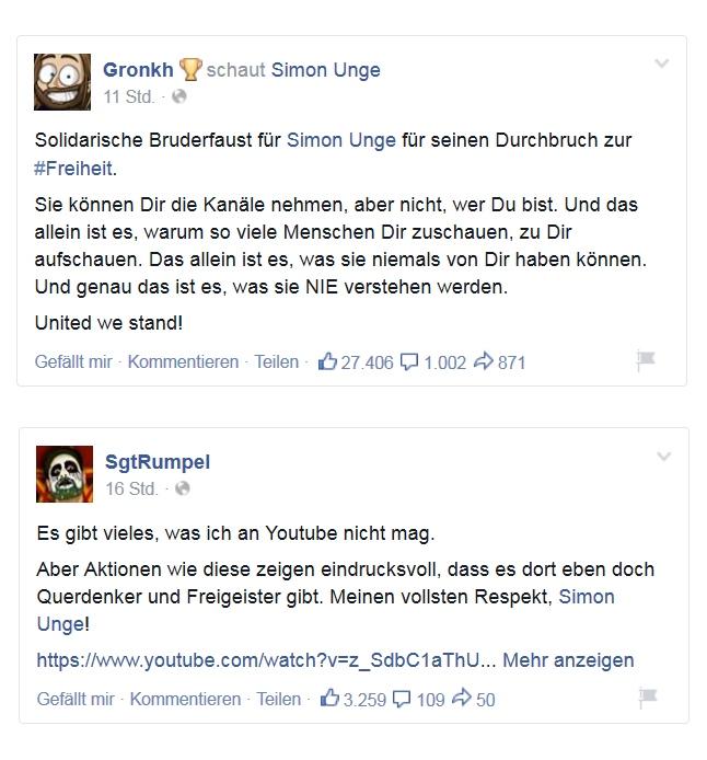 Facebook Posts von Gronkh und Sgt.Rumpel