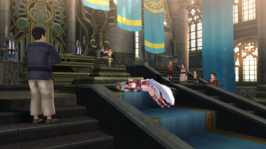 Sorey kann als einziger die Dame vom See sehen, welche über das legendäre Schwert wacht.