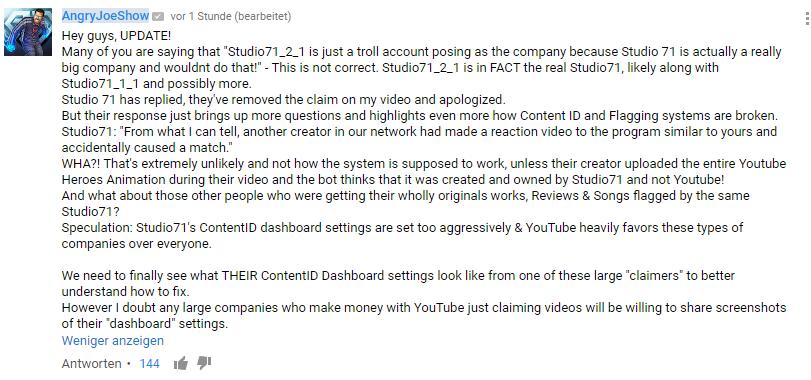 Nach einem Update von Angry Joe, kann man nun davon ausgehen, dass hinter dem Namen Studio71_2_1 wirklich DAS Studio71 steht.