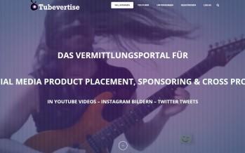 Tubevertise Innovatives Portal für YouTuber und Unternehmen